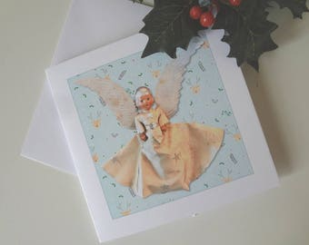 Christmas Greeting Card Treetop Angel Modern Kitsch Graphic Art Deco Angel Real Photo - I Will Post for You - EnglishPreserves
