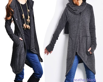 SALE Snow lover - deconstructed cardigan / asymmetrical knit cape / scarf collar sweater / heather black jacket / gray jacket (Y1573)