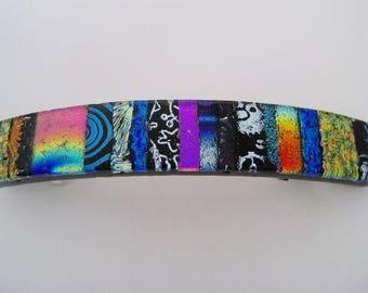 Large dichroic glass barrette.Glass hair clip. Glass barrette. Dichroic hair clip.