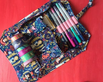 Custom Planner Accessory Roll Up Organizer for Washi Tape Pens Sticky Notes and Paper Clips