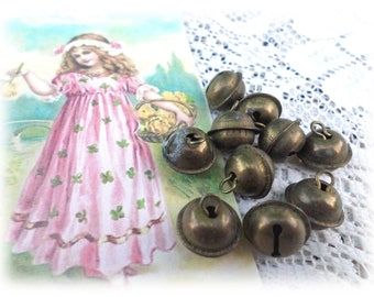 10 Vintage Rustic Brass Jingle Bell Buttons Shank Buttons