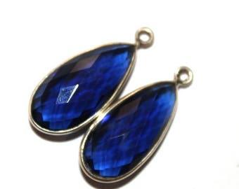 50% Off Sale 1 Pc 25x12 mm Kainite Blue Quartz Bezel Set Pear Shape Gemstone Pendant, Gemstone Charm, Connector, Single or Double Loop Penda