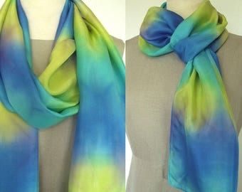 """Hand Dyed Shibori Silk Scarf, Yellow, Turquoise, Blue with a bit of Purple, Blending in Stained Glass Pattern, 14x72"""""""
