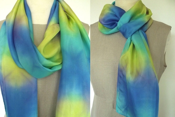 Hand Dyed Shibori Silk Scarf, Yellow, Turquoise, Blue with a bit of Purple, Blending in Stained Glass Pattern, 14x72""