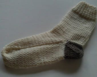 Childrens Hand Knit Fishermans  Wool  Socks  Cream   Ages 6-8