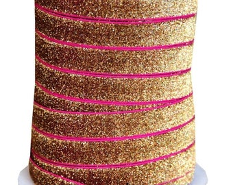 20% OFF EXP 06/30 5/8 Glitter Stretch Velvet Elastic 5 YARDS - No Flake - Bali Gold Pink