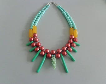 Mint necklace, yellow bronze necklace, multi strand statement necklace
