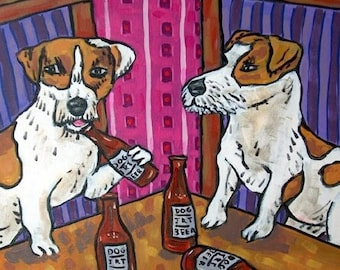 20 % off storewide Jack Russell Terrier at the Bar Dog Art Tile Coaster Gift