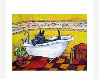 20 % off storewide Scottish Terrier Taking a Bath Dog Art Print