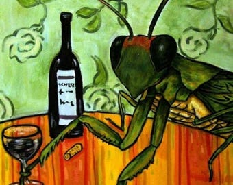 20% off storewide Praying Mantis at the Wine Bar Insect Art Tile Coaster