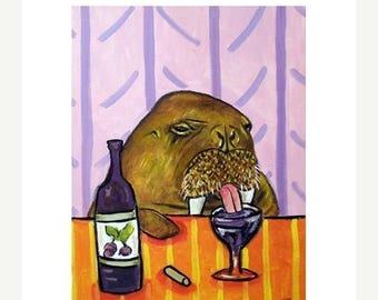 20% off Walrus at the Wine Bar Art Print