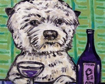 20% off West Highland White Terrier at the Wine Bar Dog Art TIle Coaster