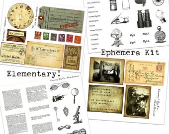 Digital Vintage Journal Ephemera Kit - Elementary! - Perfect for journals, cards, scrapbooking (4 hi-res images for immediate download)