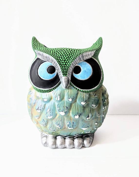 Owl Vase: Hand Painted Owl Vase Ceramic Vase green and owl vase