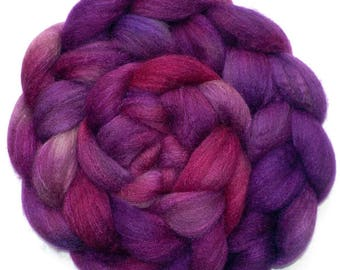 BFL/Silk Combed Top Roving Custom Blend, Cherry Crush, 5.4 oz.