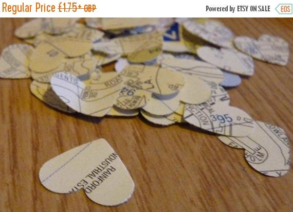 CLOSING DOWN SALE London map heart confetti