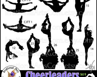 Cheer Stunt Team Silhouettes Set 9 - with  9 PNG digital files flyer needle scorpion [Instant Download]