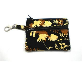 Summer Clearance Small Zippered Wallet Change Purse Gadget Case Black Brown and Butter Yellow Leaf Batik