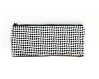 Cosmetic Case, Cord Case, Bridesmaid Gifts, All-Purpose Zipper Case, Black and White Houndstooth 9065
