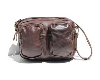 Vintage Dark Brown Leather Multi Pocket Overnight Pack Back