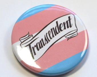 Transcendent Trans Pride Queer Badge Pinback Button