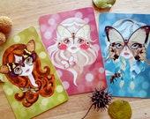 Lot de 3 cartes postales les fées printemps Postcrossing Snail Mail Fairy Woodland
