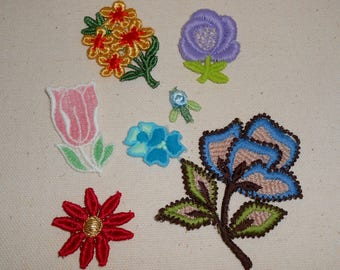 Flower Patches, Vintage Flower Patches, Jean Jacket Patches, Vintage Sewing Trims, Hippy, Retro