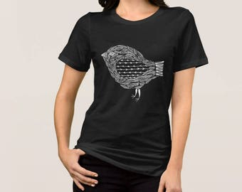 Henna Style Primitive Bird Graphic Women's Bella+Canvas Relaxed Fit Jersey Dark T-Shirt