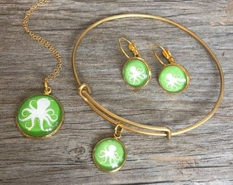 OCTOPUS JEWELRY, Octopus Necklace, Octopus Bracelet, Octopus Earrings, Octopus Keychain, Tropical, Green, Silver, Gold, Preppy, Girl, Gift