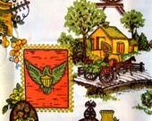 "Vintage Curtains 4 Four Panels 36"" Orange Brown 1970's Retro Novelty Kitsch Colonial Cotton Fabric Corona Americana Fall New Unused NIP"