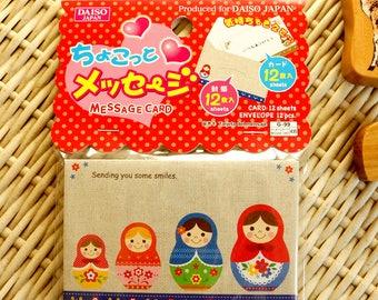 Kawaii Japanese Memo Message Gift Greeting Card - Matryoshka Russian Doll