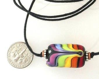 Summer Sale Pride Rainbow Glass Focal Bead