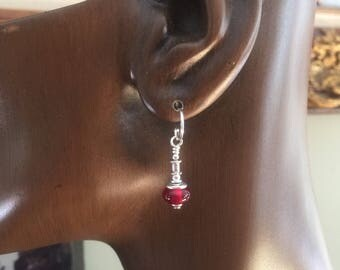 Earrings Glass Lamp Work Red Sterling Silver