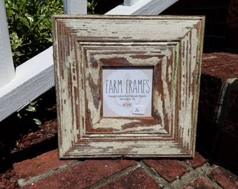 4 x 4 WHITE old vintage wood picture frame