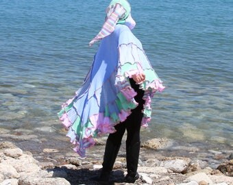 Ninja Fawn pastel Wool Free  frankensweater poncho capelet upcycled hoodie gypsy coat