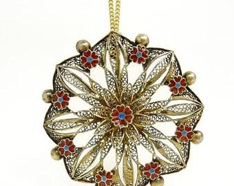 Vintage Portugal Sterling Silver & Enamel Flower Pendant Necklace
