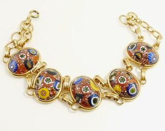 Vintage Millefiori Glass Link Bracelet Gold Plated Venetian Glass Bracelet
