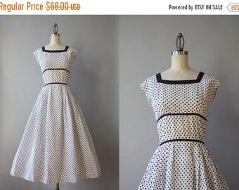 STOREWIDE SALE 1950s Dress / Vintage 50s Polka Dot Dress / Fifties White and Navy Dotted Cotton Dress