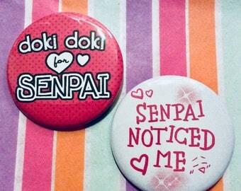 "Senpai Pin set 2.25"" badges Senpai Noticed Me anime buttons large cute colorful Kawaii accessories fandom statement aesthetic"