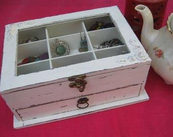 Cream & Brown Shabby Chic Wooden Jewelry Box, Jewelry Cabinet
