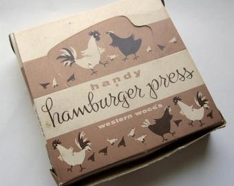 Vintage hamburger press in original box NIB from Western Woods of Portland, Oregon made in USA w chicken design