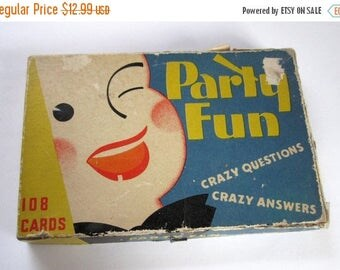 ON SALE- Party Fun vintage Q&A question and answer card game for teens to adult by Whitman circa 1935