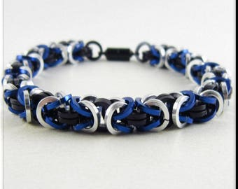 Chainmaille Bracelet or Anklet, Ankle Bracelet Blue, Black and Silver Square Cut Byzantine Chain Mail