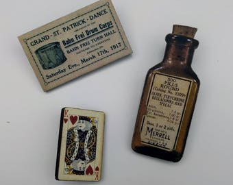 3 x Wooden Brooches - Ticket, Bottle, Card (SET A4)