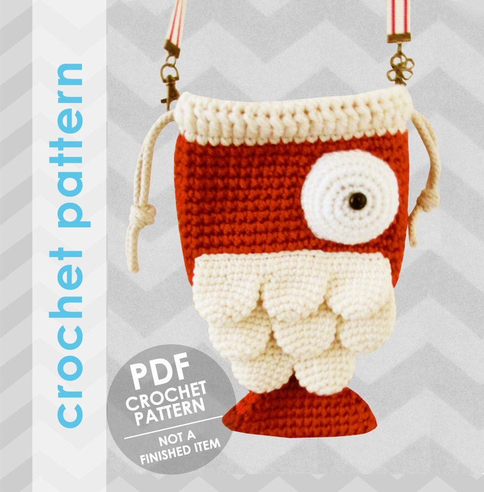 Crochet bag pattern fish bag crochet bag pattern for Koi fish purse