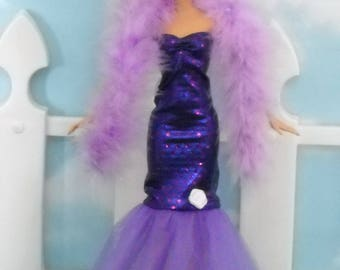 Purple Barbie Doll Sweetheart Dress Handmade with Boa