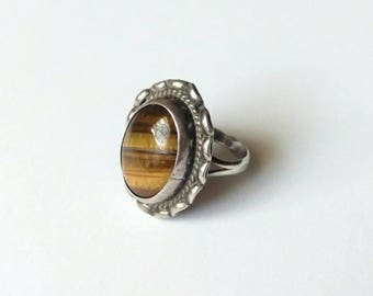 Vintage ring sterling silver tigers eye brown gem stone 925 Mexico size 7