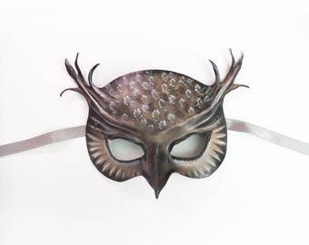 Owl Leather Mask in grey black brown and white wearable art costume Mardi Gras New Years very lightweight easy to wear