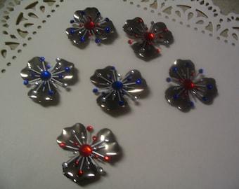 6 Large Flower Finding Layered Starburst Rhinestone Brad Embellishments Jewelry Craft Supplies