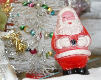 Vintage Santa Christmas Shaker Toy Rattle ornament celluloid